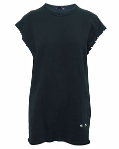 Loose Fitting Black Top With Raw Hem