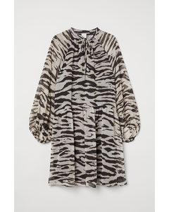 Kleid mit Ballonärmeln Hellbeige/Zebramuster