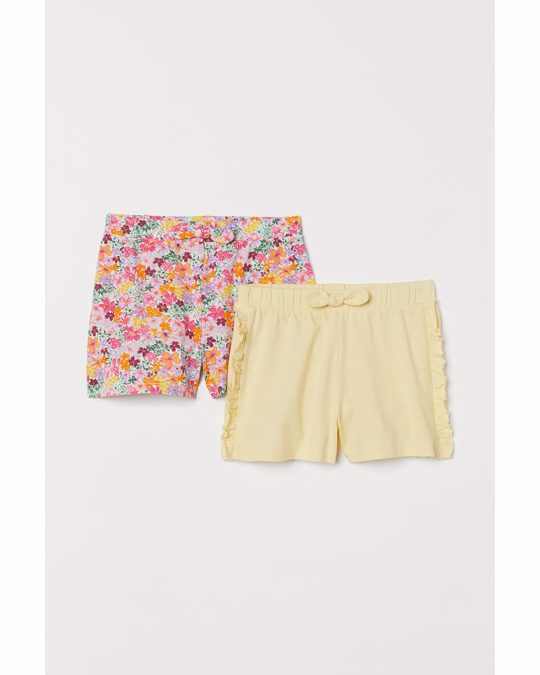 H&M 2-pack Jersey Shorts Light Yellow/floral