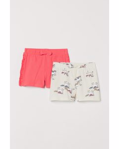 Set Van 2 Tricot Shorts Koraalrood/eenhoorns