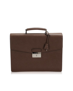 Prada Saffiano Business Bag Brown