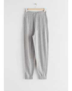 Oversized Wool Knit Drawstring Trousers Grey