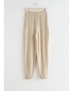 Oversized Wool Knit Drawstring Trousers Beige Melange