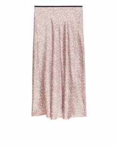 Bias-cut Floral Satin Skirt Pink/floral