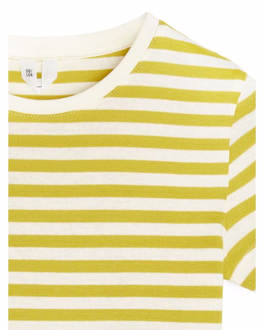 Arket Cotton Jersey T-Shirt Mustard/Off White