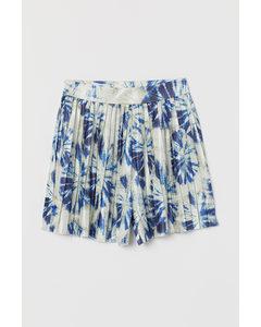 Plissierte Shorts Beige/Blau gemustert