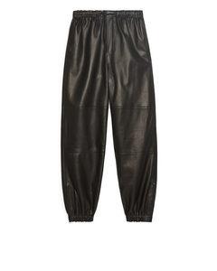 Leather Track Pants Black