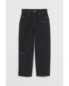 Straight High Ankle Jeans Mörkgrå