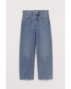 Straight High Ankle Jeans Denimblauw
