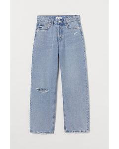 Straight High Ankle Jeans Ljus Denimblå