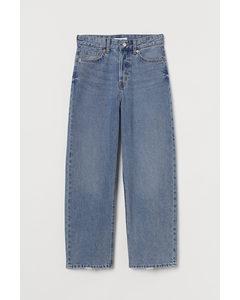 Straight High Ankle Jeans Denimblå