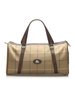 Burberry Plaid Canvas Boston Bag Brown