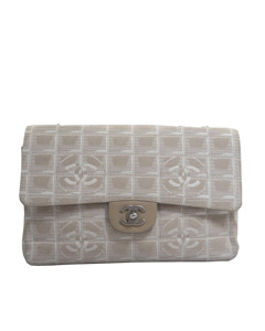 Chanel New Travel Line Classic Canvas Flap Bag Pink