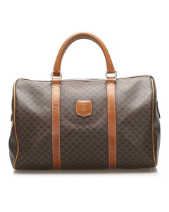 Celine Macadam Coated Canvas Boston Bag Brown