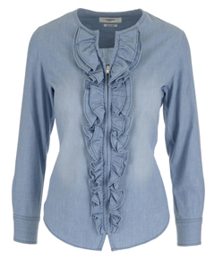 Ruffled Blouse  Blue