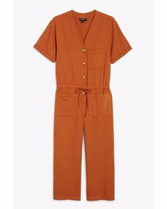 Denim Jumpsuit Rust Orange