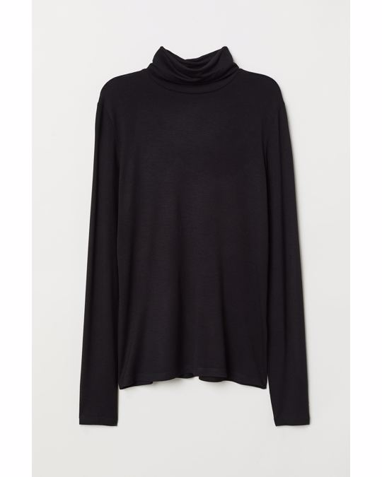 H&M Jersey polo-neck top Black