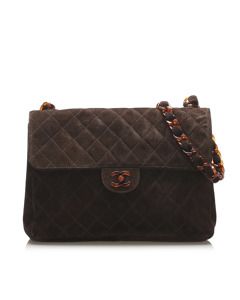 Chanel Jumbo Suede Single Flap Bag Brown