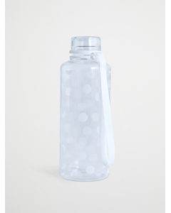 Water Bottle  Dots Printed  White Ribbon