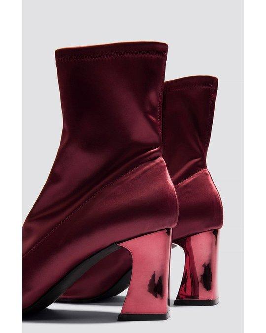 NA-KD Metallic Heel Satin Boots - Dark Red