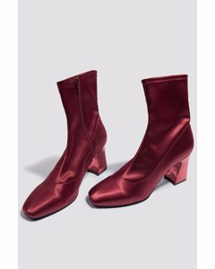 Metallic Heel Satin Boots - Dark Red