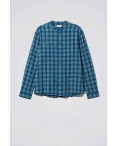 Curly Check Linen Shirt Blue