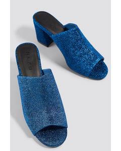 Glitter Mule Heel Sandals Blue