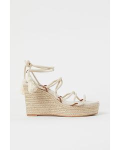 Sandaletten Met Sleehak Lichtbeige