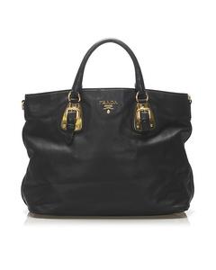 Prada Vitello Tote Bag Black