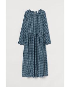 Midi-jurk Turkoois/zwart Geruit
