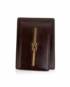 Gucci Vintage Brown Leather Gold Knot Desk Notebook Holder