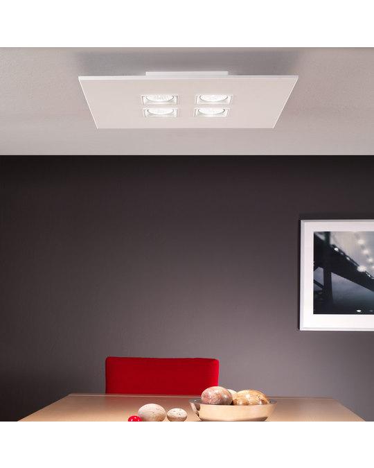 MILAN ILUMINACIÓN Ceiling Light Sqaured 4 X  Gu10 Led 8 W White Lacquer
