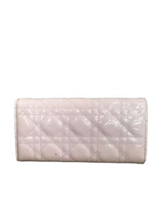 Dior Lady Dior Cannage Patent Leather Wallet On Chain White