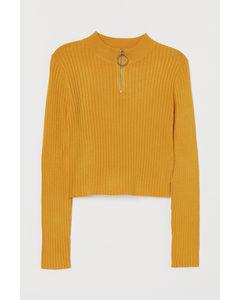 Rib-knit Jumper Yellow