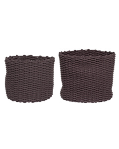 Basket, Brown, Textile Set Of 2
