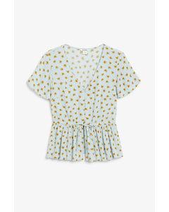 V-neck Blouse With Ruffle Hem Sunflower Print