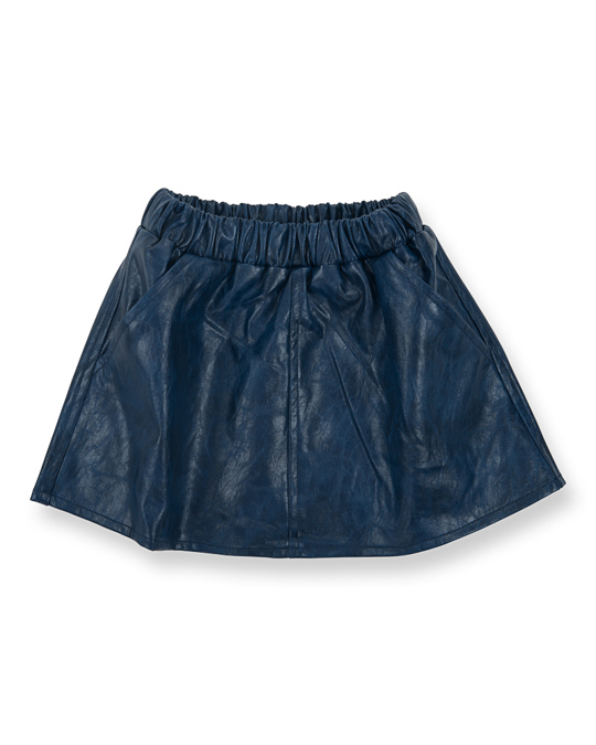 How to Kiss a Frog Peach Skirt Blue Faux Leather