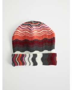 Striped Wool-blend Beanie Orange