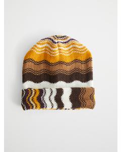 Striped Wool-blend Beanie Yellow/Purple