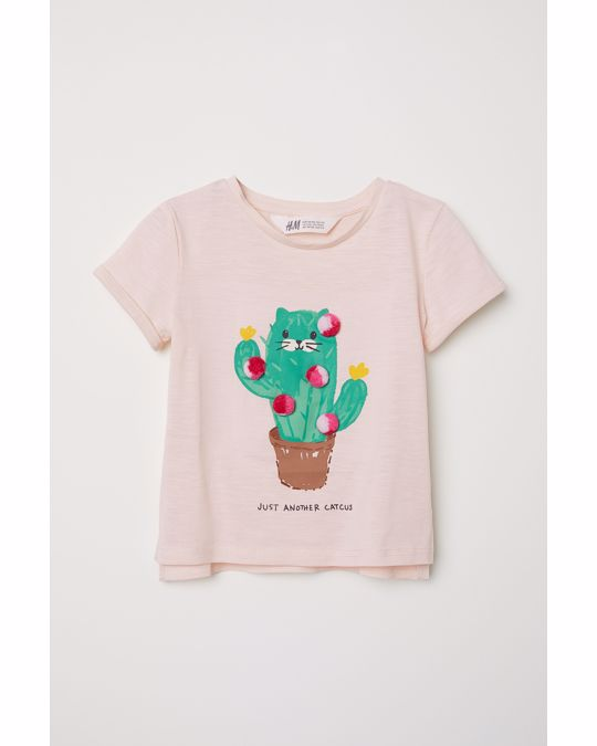 H&M T-shirt with a motif Pink/Just Another Catcus