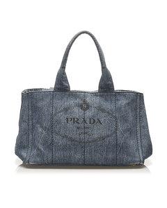 Prada Canapa Logo Denim Handbag Blue
