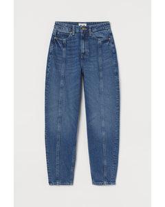 Loose Fit Mom Jeans Denimblå