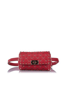 Valentino Rockstud Leather Belt Bag Red