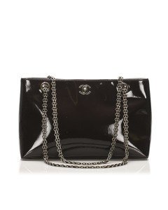 Chanel Cc Chain Patent Leather Shoulder Bag Brown