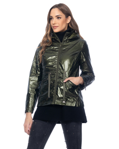 Metallic Jacket With Strings, Hood, Elastic Waist And Back Tacks