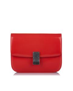 Celine Medium Classic Box Leather Crossbody Bag Red