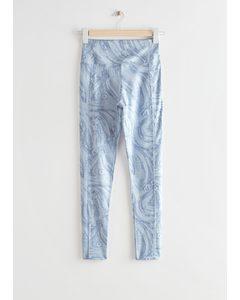 Quick-dry Yoga Tights Blue Print