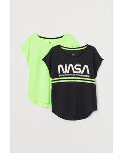 2er-Pack Sportshirts Neongrün/NASA