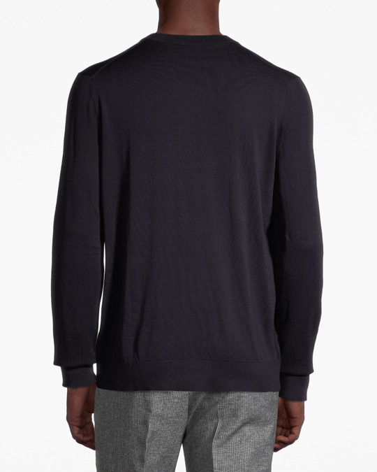 Arket Extra Fine Knit Cotton Silk Jumper Blue