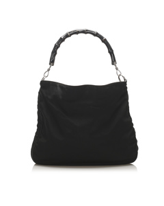 Gucci Bamboo Nylon Satchel Black